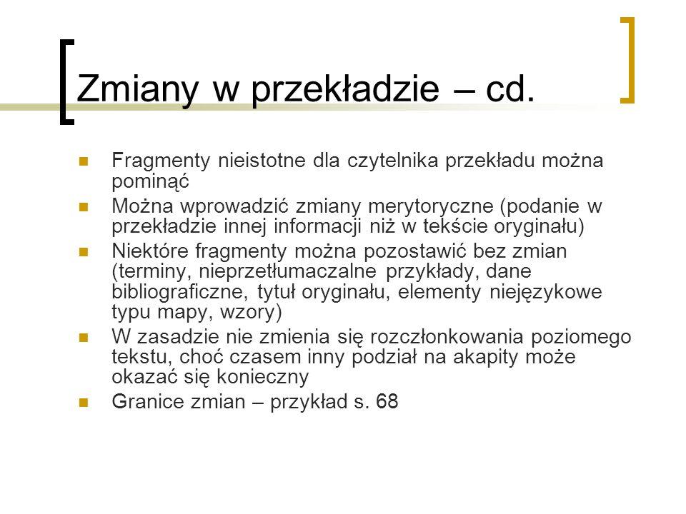Zmiany w przekładzie – cd.
