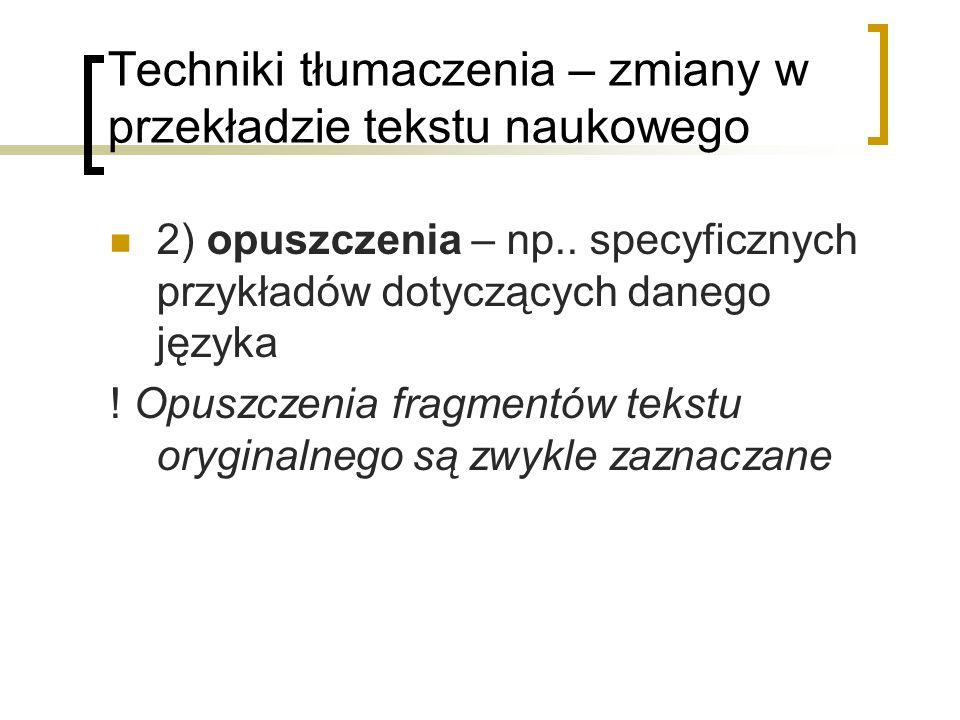Techniki tłumaczenia – zmiany w przekładzie tekstu naukowego