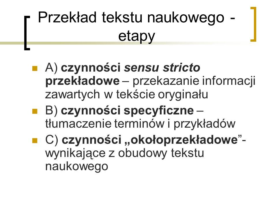 Przekład tekstu naukowego - etapy