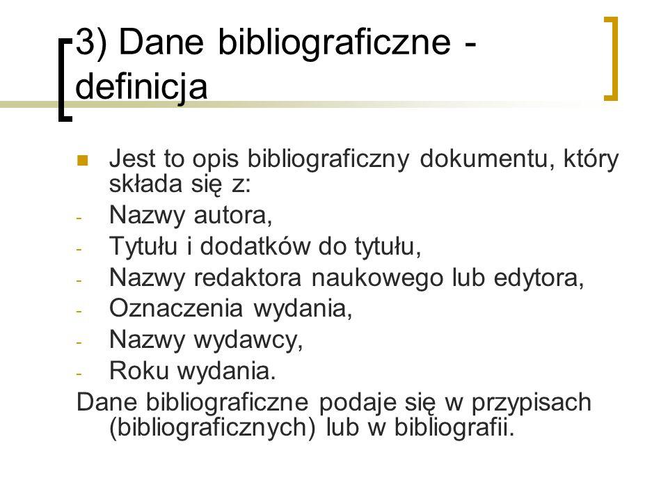 3) Dane bibliograficzne - definicja