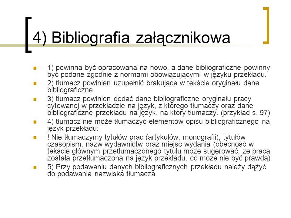 4) Bibliografia załącznikowa