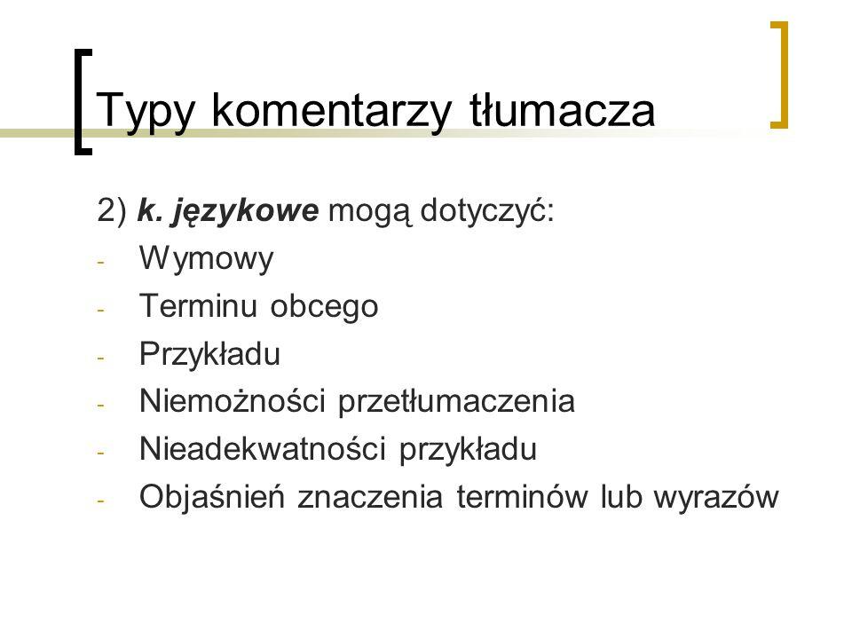 Typy komentarzy tłumacza