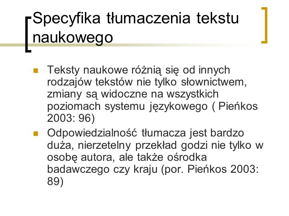 Specyfika tłumaczenia tekstu naukowego