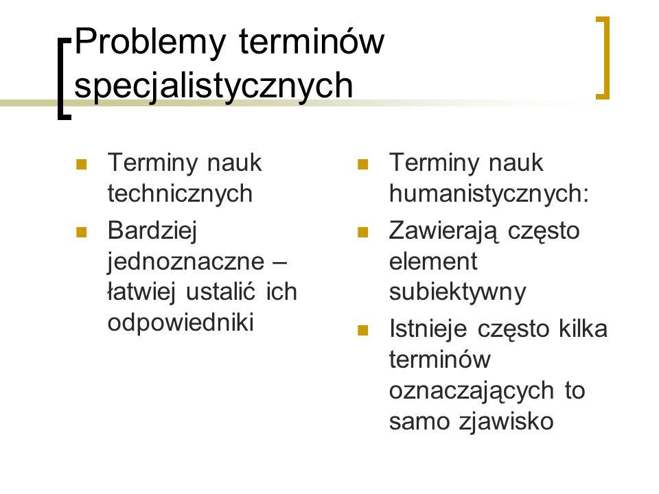 Problemy terminów specjalistycznych