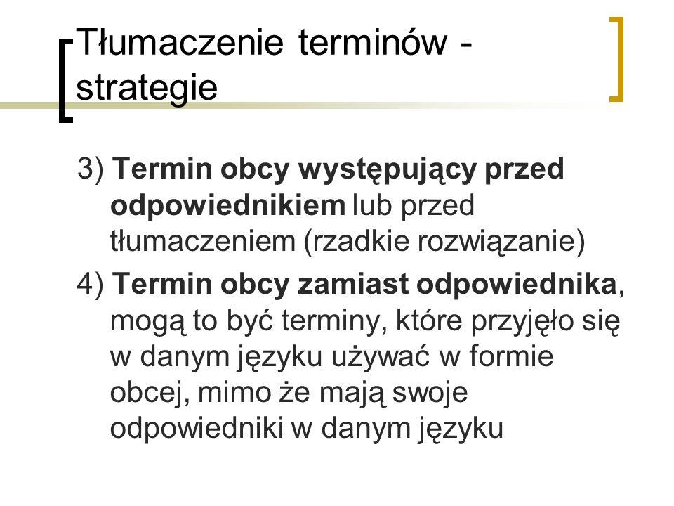 Tłumaczenie terminów - strategie