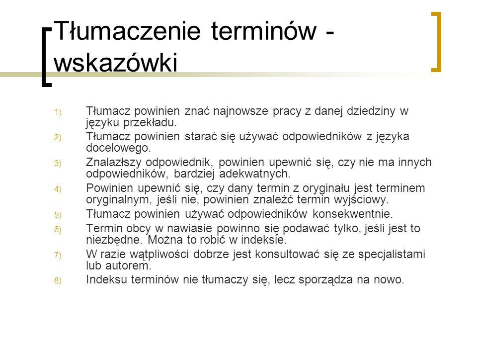 Tłumaczenie terminów - wskazówki