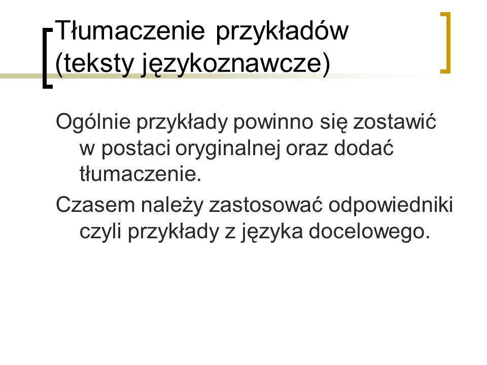 Tłumaczenie przykładów (teksty językoznawcze)