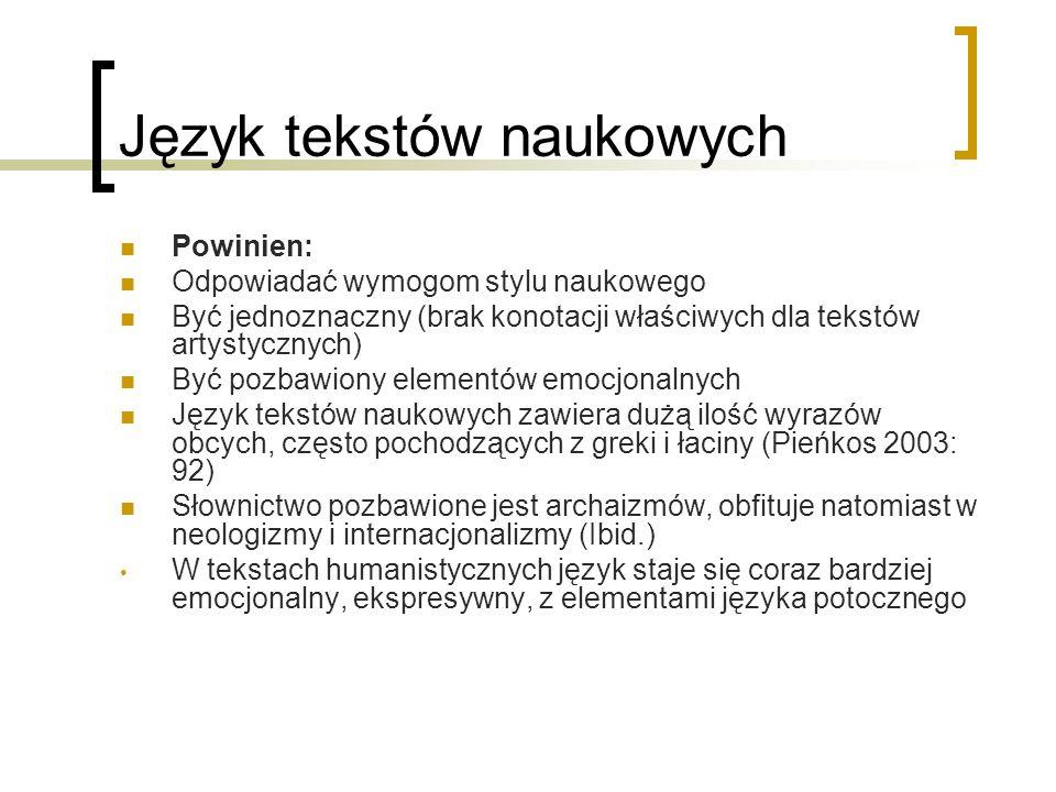 Język tekstów naukowych
