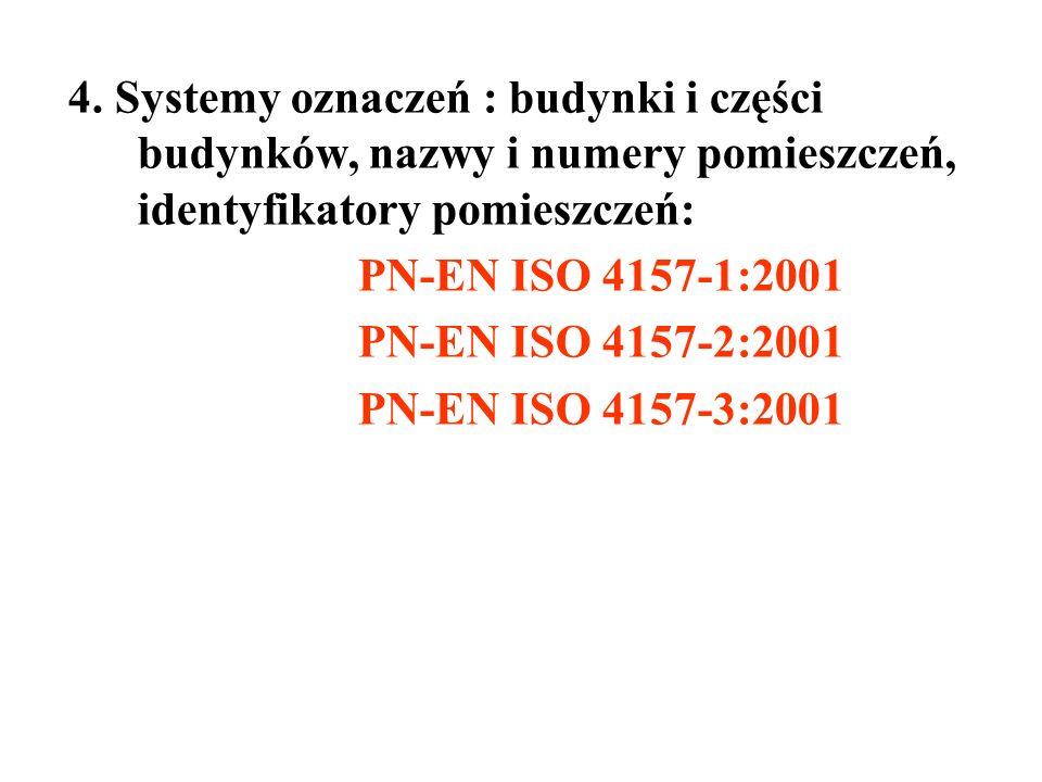4. Systemy oznaczeń : budynki i części budynków, nazwy i numery pomieszczeń, identyfikatory pomieszczeń: