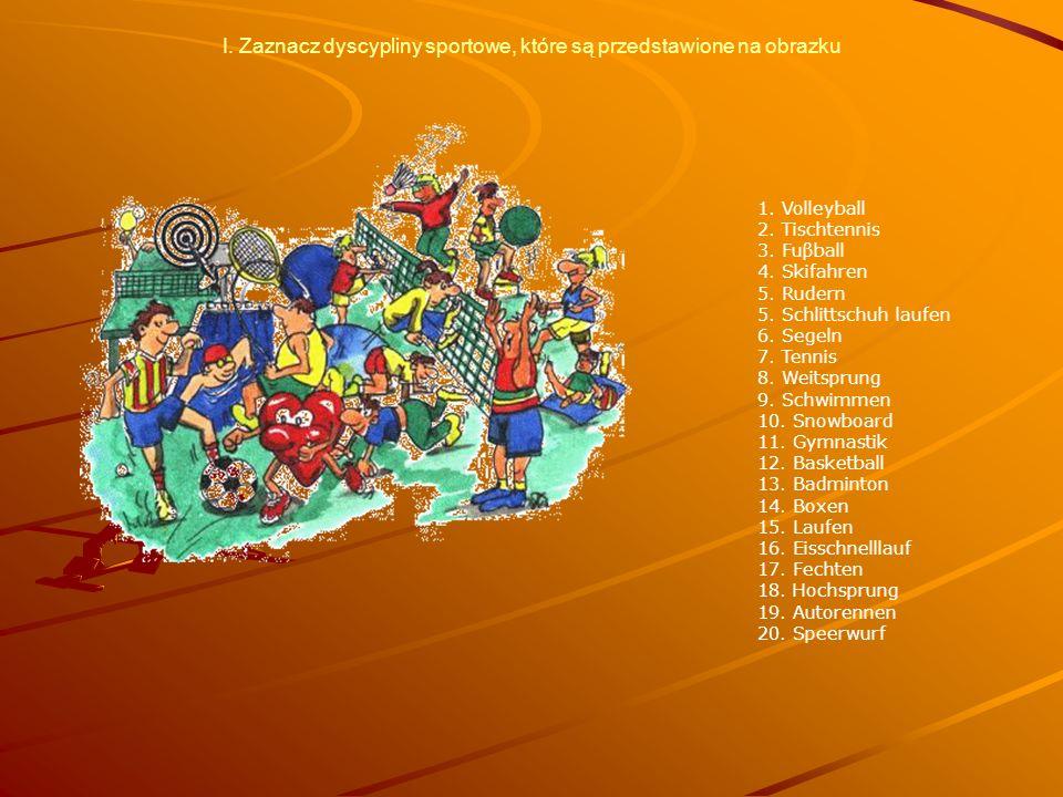 I. Zaznacz dyscypliny sportowe, które są przedstawione na obrazku