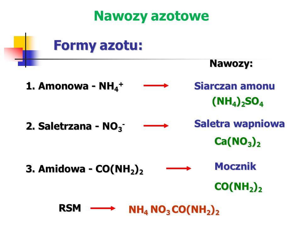 Nawozy azotowe Formy azotu: Nawozy: 1. Amonowa - NH4+ Siarczan amonu