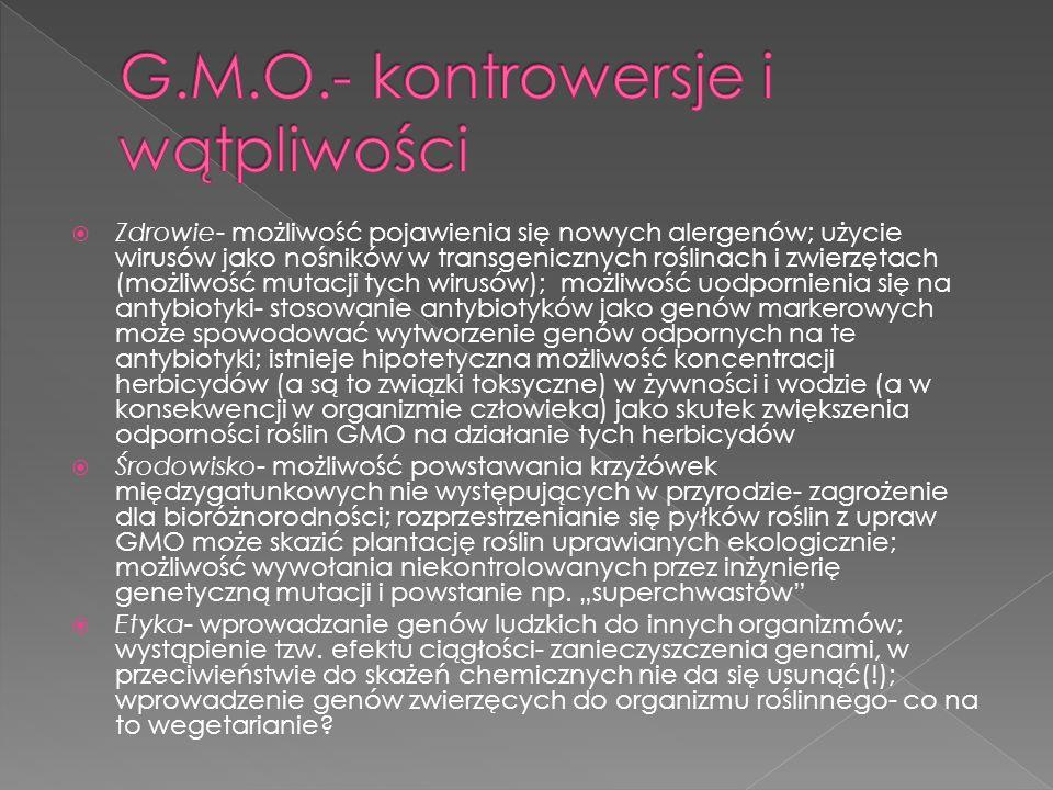 G.M.O.- kontrowersje i wątpliwości