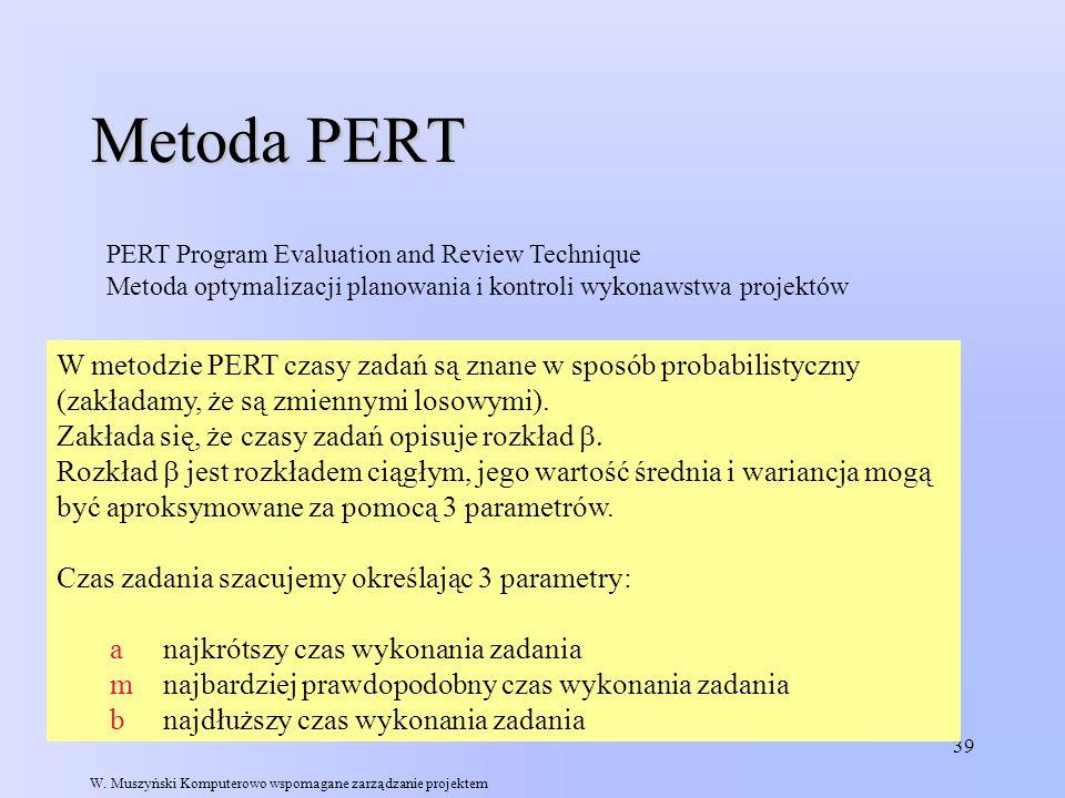 Metoda PERT PERT Program Evaluation and Review Technique. Metoda optymalizacji planowania i kontroli wykonawstwa projektów.