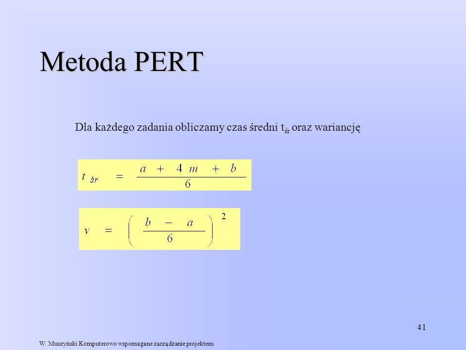 Metoda PERT Dla każdego zadania obliczamy czas średni tśr oraz wariancję.
