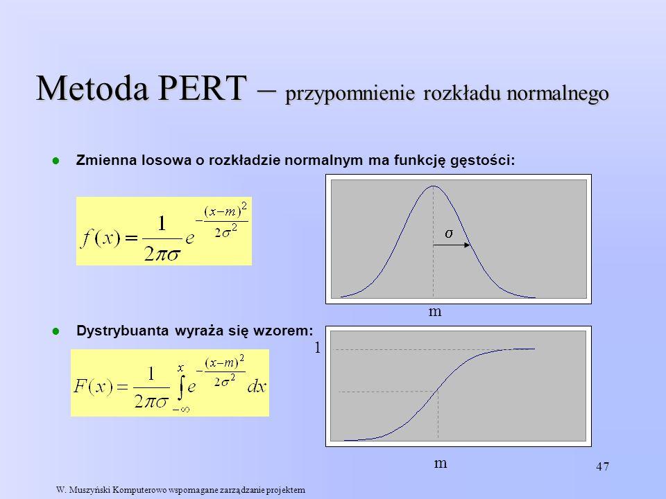 Metoda PERT – przypomnienie rozkładu normalnego