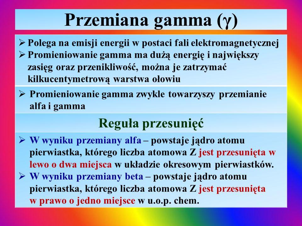 Przemiana gamma (γ) Reguła przesunięć