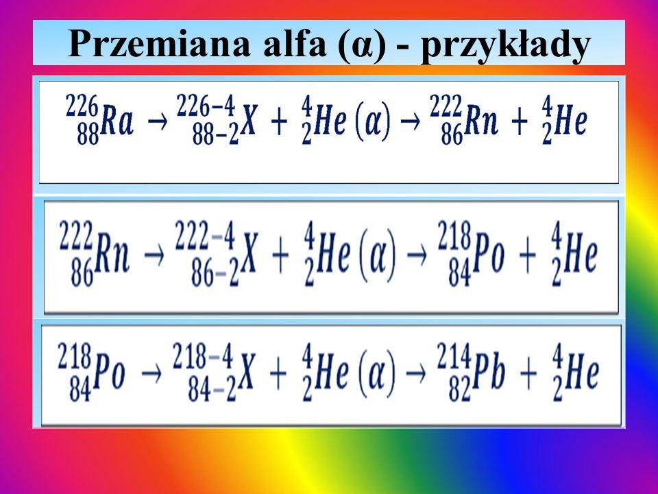 Przemiana alfa (α) - przykłady