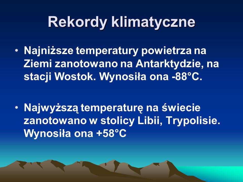 Rekordy klimatyczne Najniższe temperatury powietrza na Ziemi zanotowano na Antarktydzie, na stacji Wostok. Wynosiła ona -88°C.