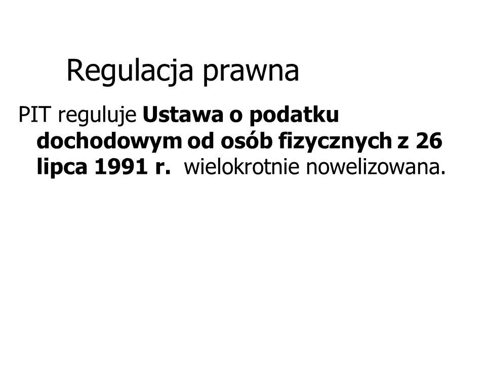 Regulacja prawna PIT reguluje Ustawa o podatku dochodowym od osób fizycznych z 26 lipca 1991 r.
