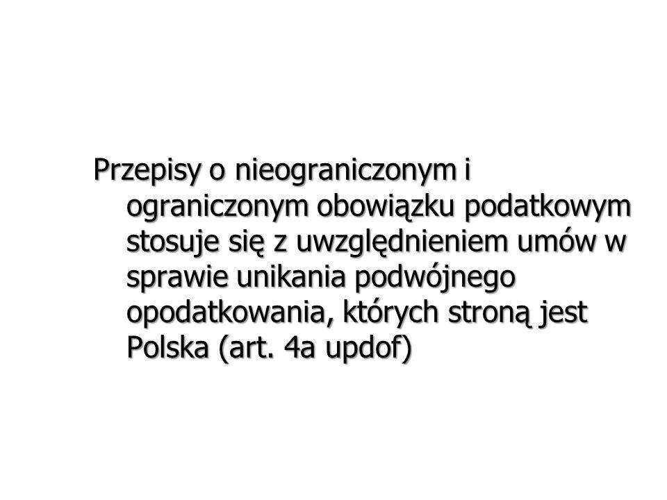 Przepisy o nieograniczonym i ograniczonym obowiązku podatkowym stosuje się z uwzględnieniem umów w sprawie unikania podwójnego opodatkowania, których stroną jest Polska (art.