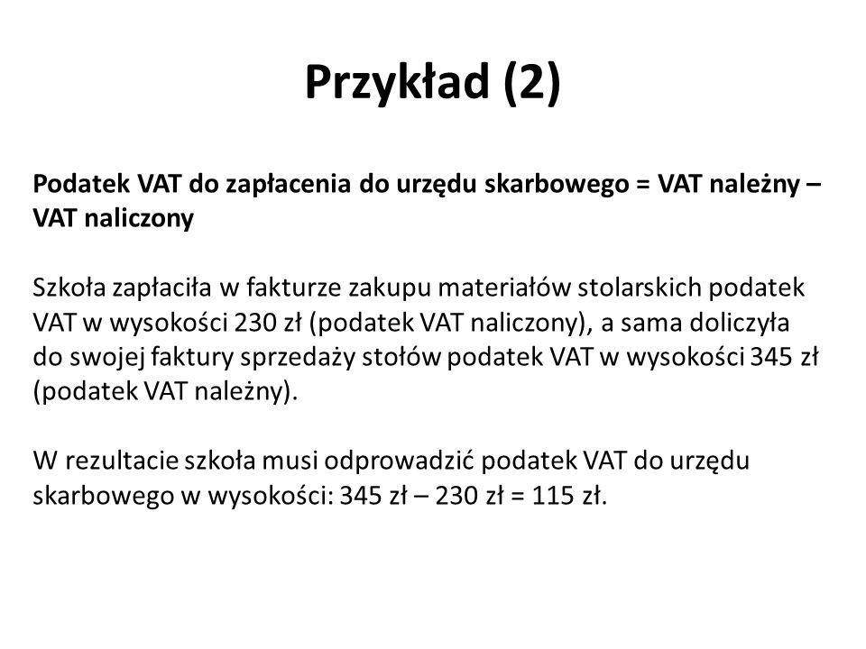 Przykład (2) Podatek VAT do zapłacenia do urzędu skarbowego = VAT należny – VAT naliczony.