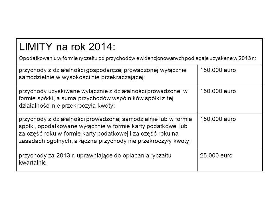 LIMITY na rok 2014: Opodatkowaniu w formie ryczałtu od przychodów ewidencjonowanych podlegają uzyskane w 2013 r.: