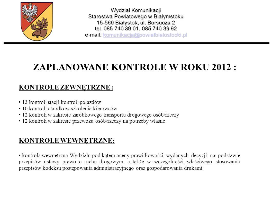 ZAPLANOWANE KONTROLE W ROKU 2012 :