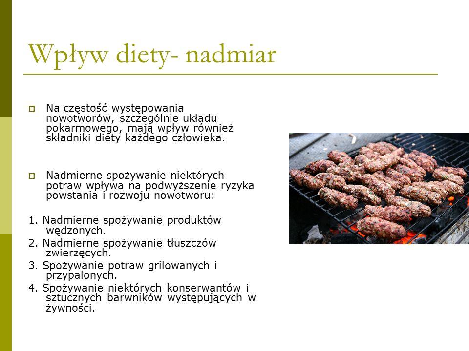 Wpływ diety- nadmiar Na częstość występowania nowotworów, szczególnie układu pokarmowego, mają wpływ również składniki diety każdego człowieka.