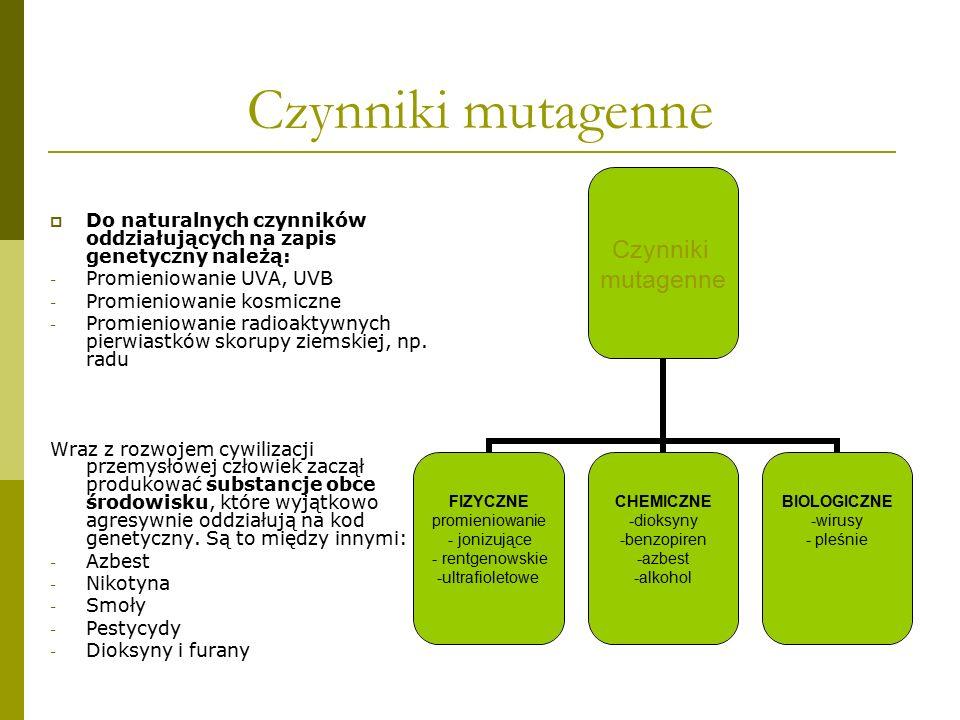 Czynniki mutagenne Do naturalnych czynników oddziałujących na zapis genetyczny należą: Promieniowanie UVA, UVB.
