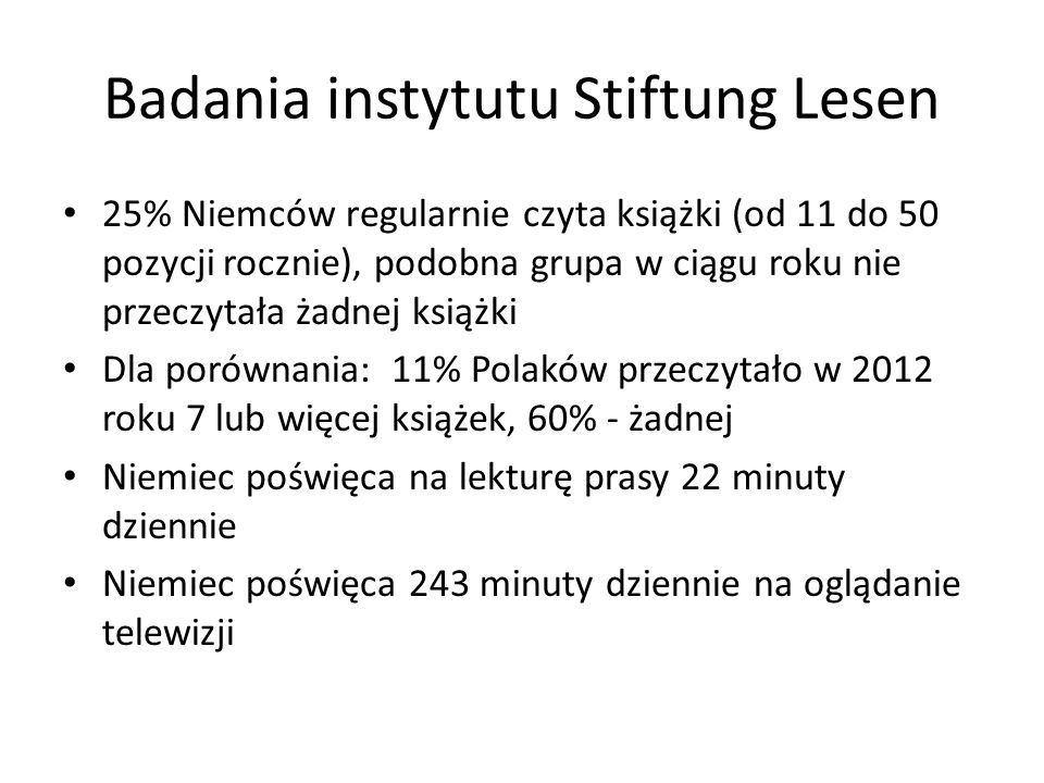 Badania instytutu Stiftung Lesen