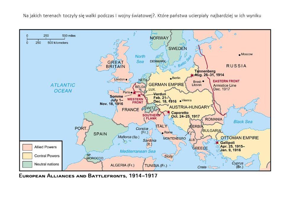 Na jakich terenach toczyły się walki podczas I wojny światowej