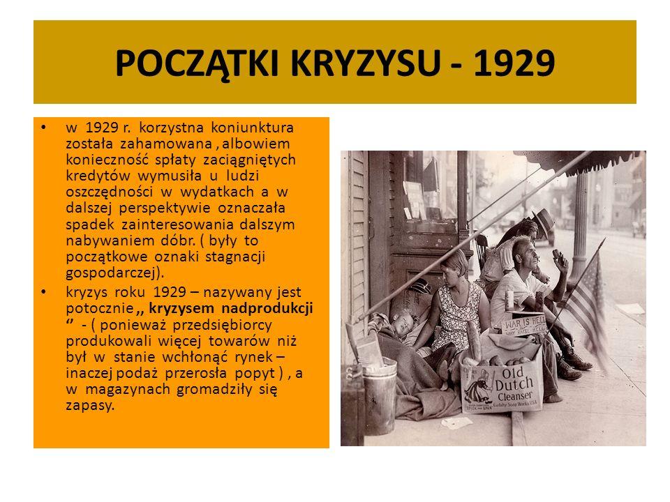 POCZĄTKI KRYZYSU - 1929