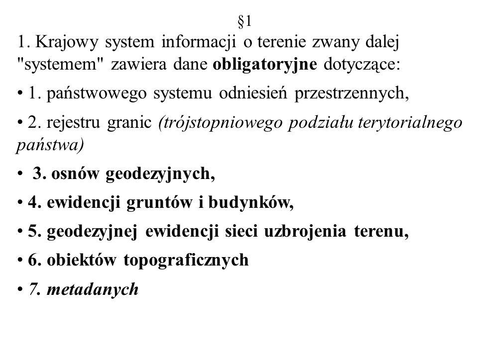 1. państwowego systemu odniesień przestrzennych,