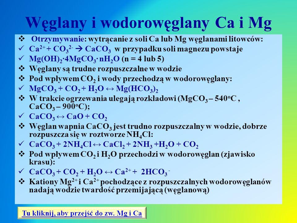 Węglany i wodorowęglany Ca i Mg