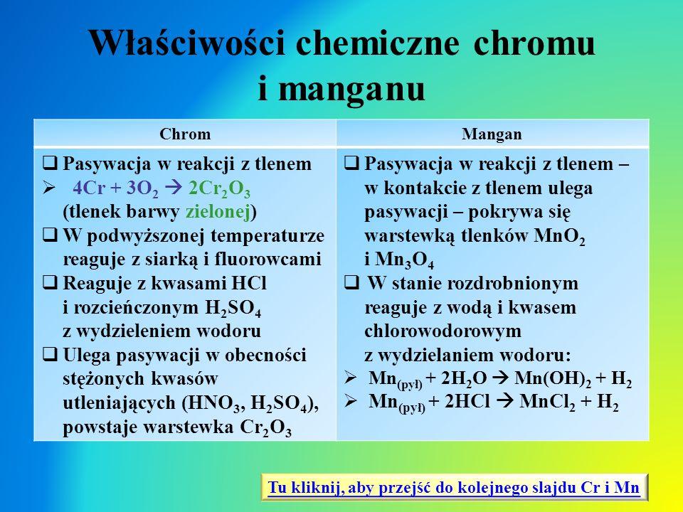 Właściwości chemiczne chromu i manganu