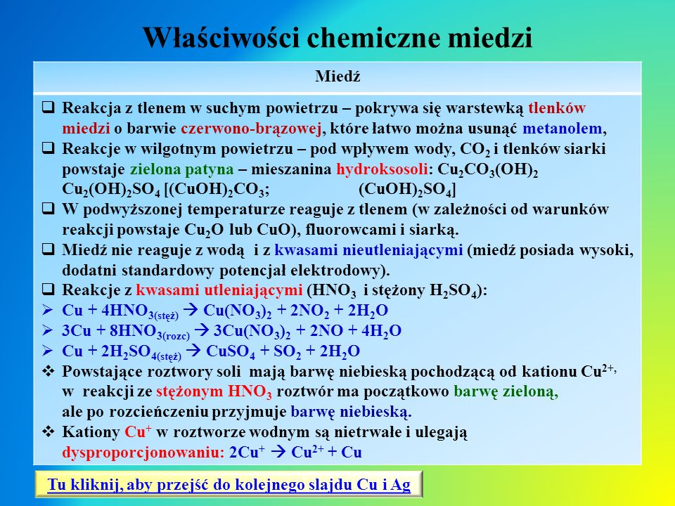 Właściwości chemiczne miedzi