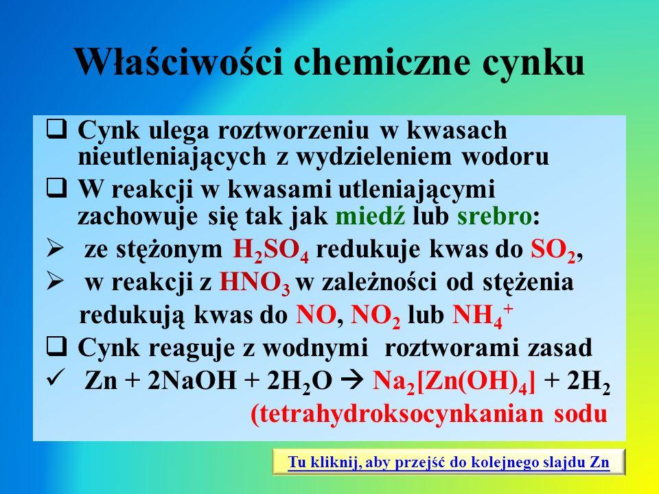 Właściwości chemiczne cynku