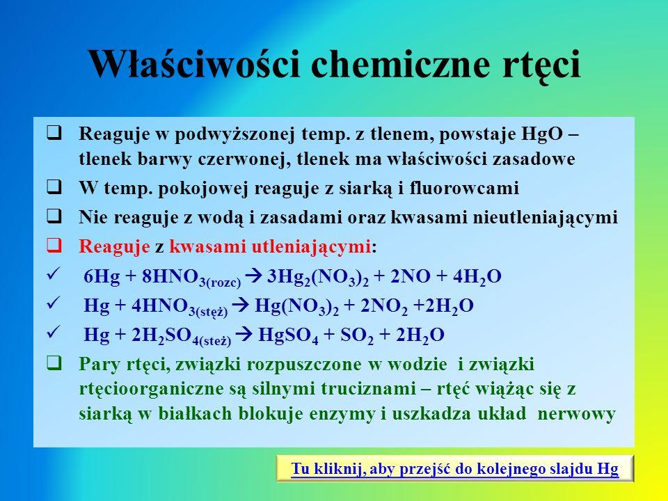 Właściwości chemiczne rtęci