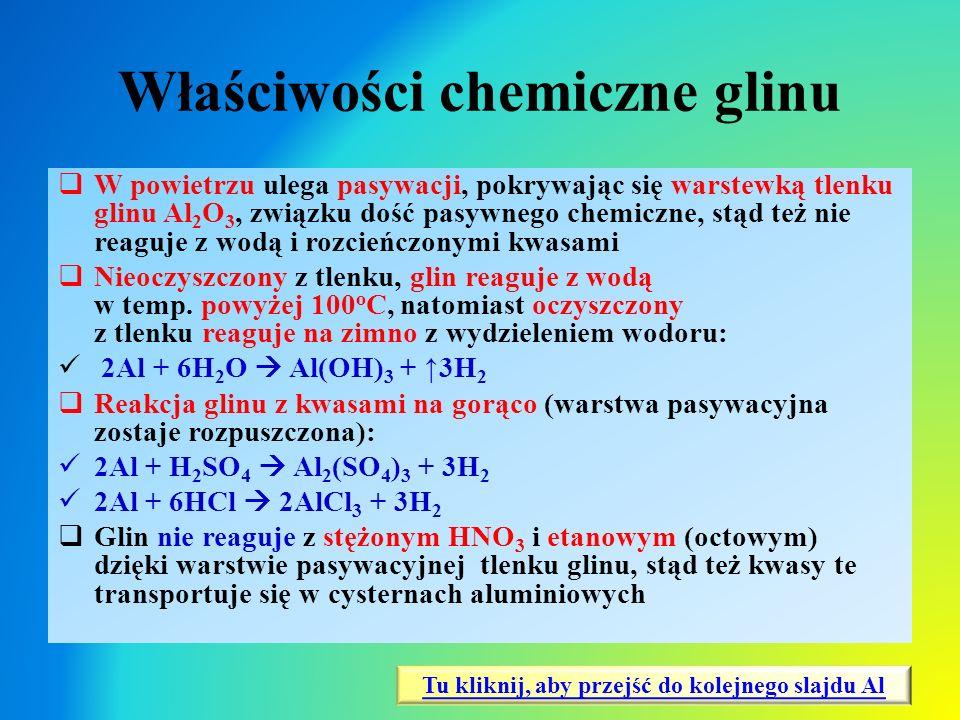 Właściwości chemiczne glinu