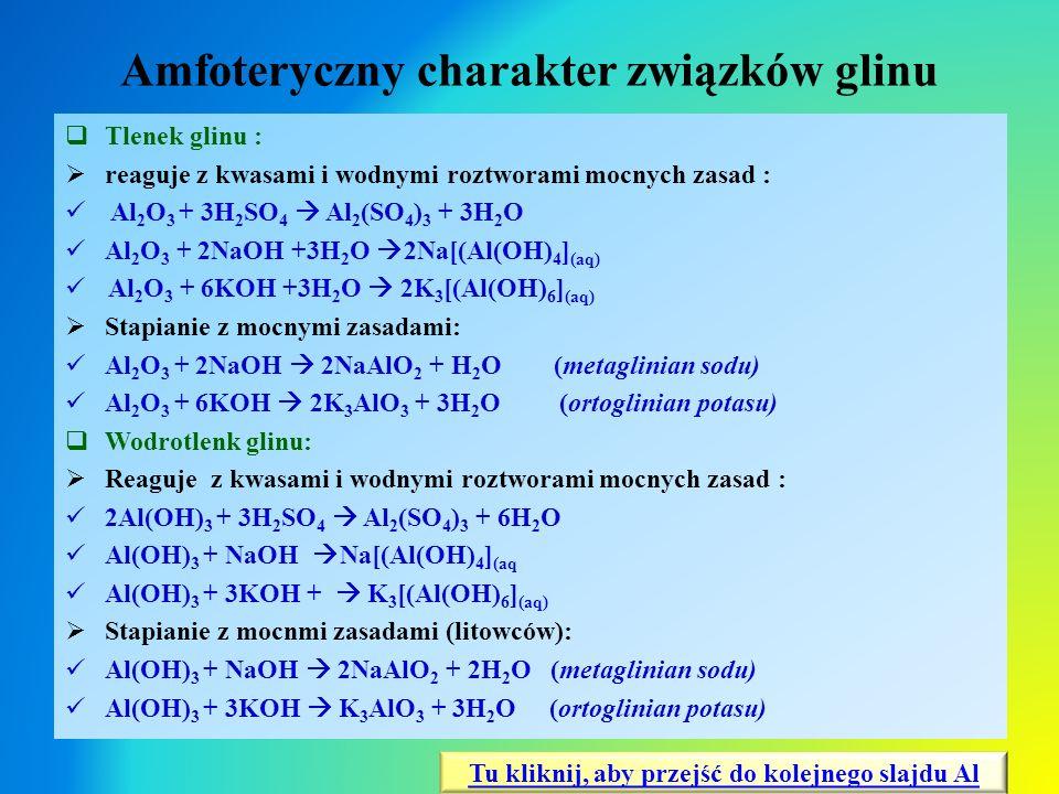 Amfoteryczny charakter związków glinu