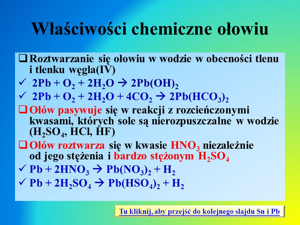 Właściwości chemiczne ołowiu