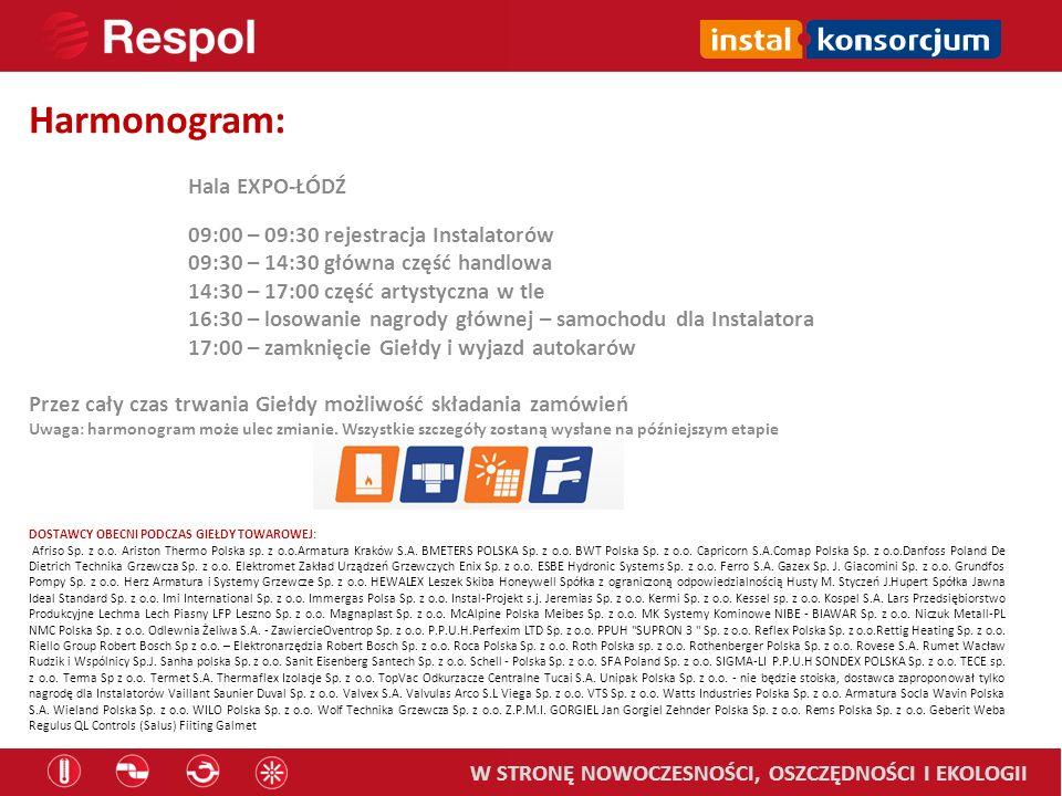 Harmonogram: Hala EXPO-ŁÓDŹ 09:00 – 09:30 rejestracja Instalatorów