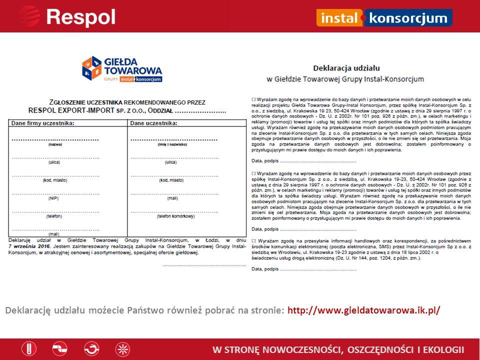 Deklarację udziału możecie Państwo również pobrać na stronie: http://www.gieldatowarowa.ik.pl/