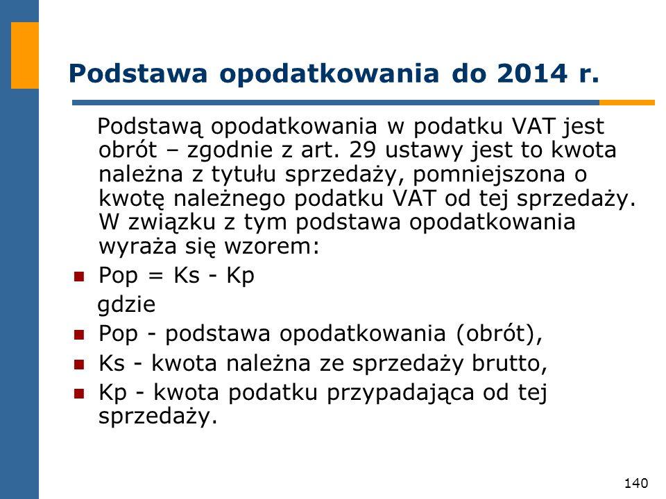 Podstawa opodatkowania do 2014 r.