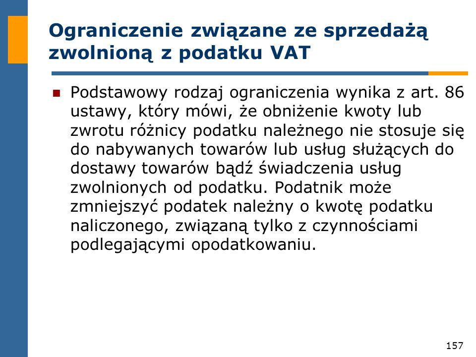 Ograniczenie związane ze sprzedażą zwolnioną z podatku VAT