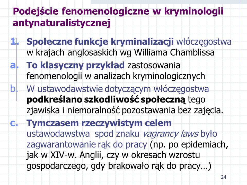Podejście fenomenologiczne w kryminologii antynaturalistycznej