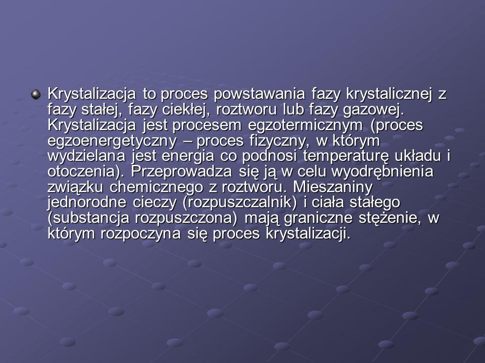Krystalizacja to proces powstawania fazy krystalicznej z fazy stałej, fazy ciekłej, roztworu lub fazy gazowej.