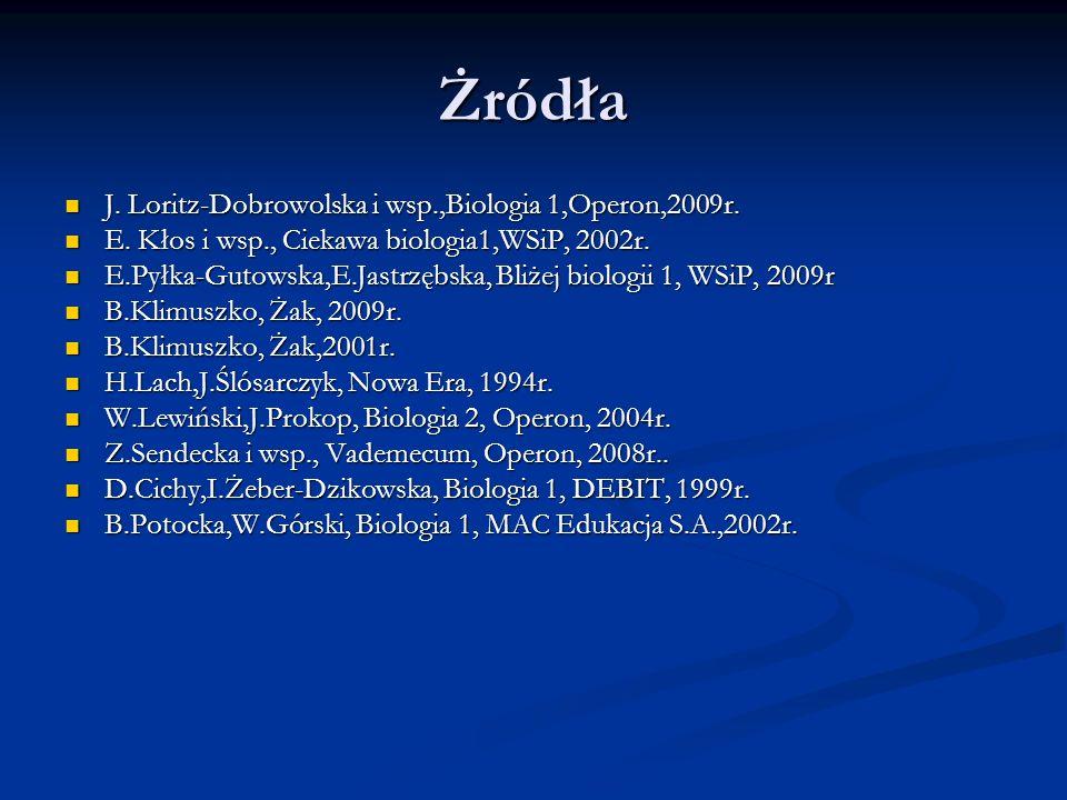Żródła J. Loritz-Dobrowolska i wsp.,Biologia 1,Operon,2009r.