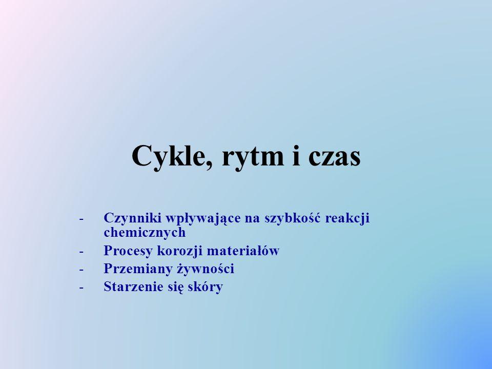 Cykle, rytm i czas Czynniki wpływające na szybkość reakcji chemicznych