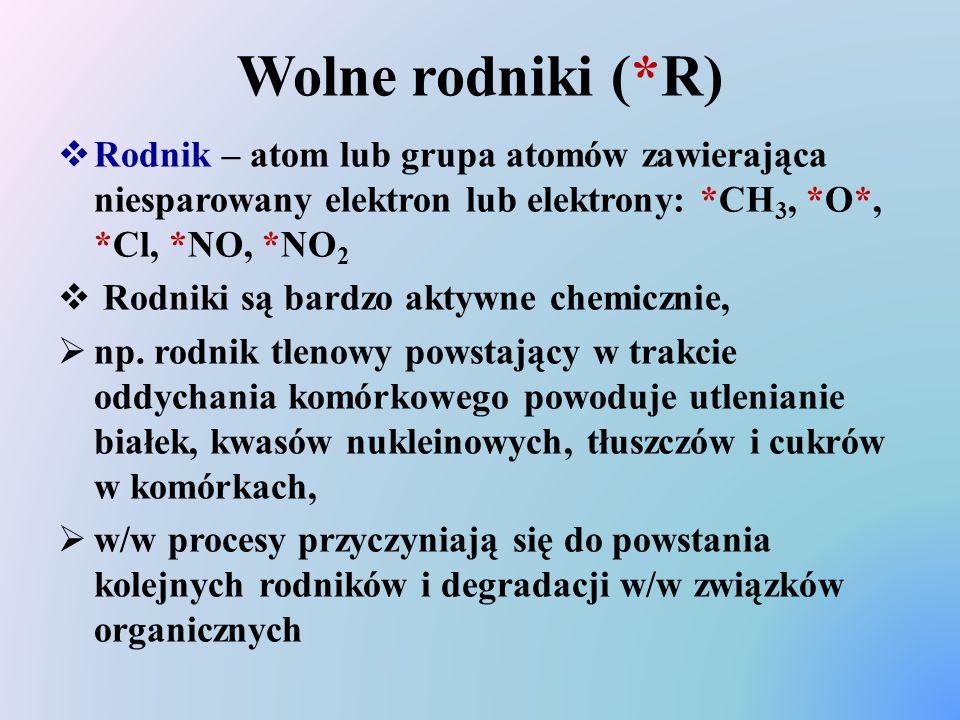 Wolne rodniki (*R) Rodnik – atom lub grupa atomów zawierająca niesparowany elektron lub elektrony: *CH3, *O*, *Cl, *NO, *NO2.